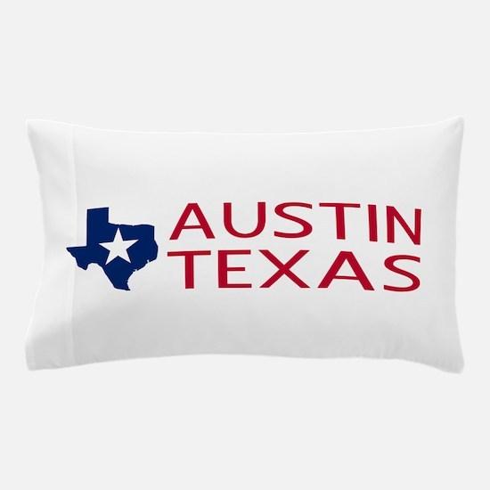 Texas: Austin (State Shape & Star) Pillow Case