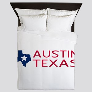 Texas: Austin (State Shape & Star) Queen Duvet