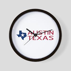 Texas: Austin (State Shape & Star) Wall Clock