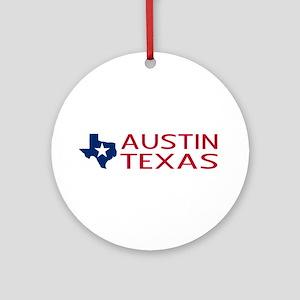 Texas: Austin (State Shape & Star) Round Ornament