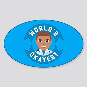 Emoji Worlds Okayest Doctor Sticker (Oval)