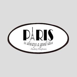 Audrey Hepburn Paris Quote Black Patch