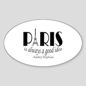 Audrey Hepburn Paris Quote Black Sticker