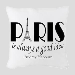 Audrey Hepburn Paris Quote Black Woven Throw Pillo