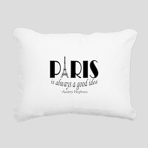 Audrey Hepburn Paris Quote Black Rectangular Canva