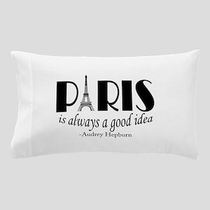 Audrey Hepburn Paris Quote Black Pillow Case