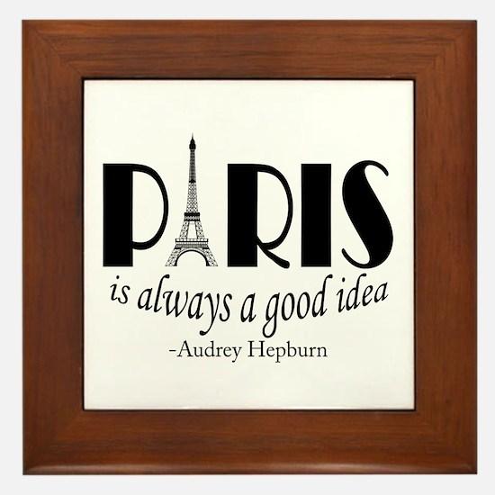 Audrey Hepburn Paris Quote Black Framed Tile