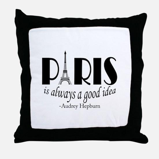 Audrey Hepburn Paris Quote Black Throw Pillow