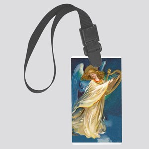 Christmas Angel And Gold Harp Large Luggage Tag