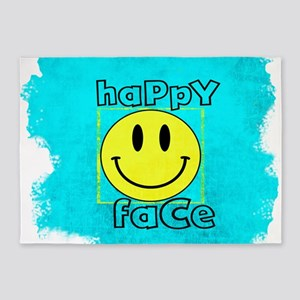 smiley happy face edgy 5'x7'Area Rug