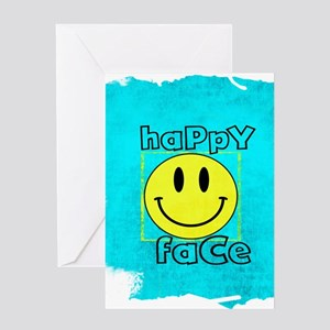 smiley happy face edgy Greeting Cards