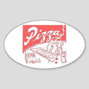 Retro 100% Vegan Pizza Oval Sticker