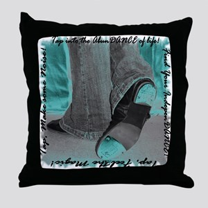Neon Tap Feet Throw Pillow