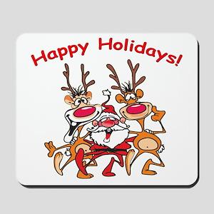 Crazy Reindeer Christmas Santa Mousepad