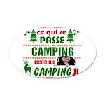 Tasse Camping RV Oval Car Magnet