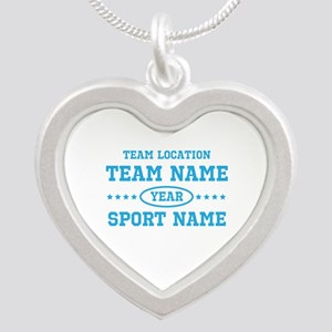 Sports Team Personalized Silver Heart Necklace