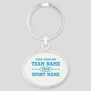 Sports Team Personalized Oval Keychain