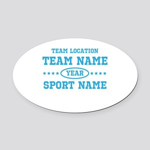Sports Team Personalized Oval Car Magnet