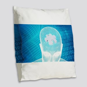 Futuristic Technol Burlap Throw Pillow