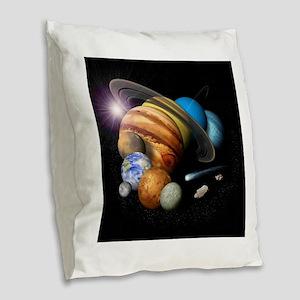 Solar System Montage Burlap Throw Pillow