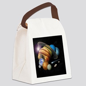 Solar System Montage Canvas Lunch Bag