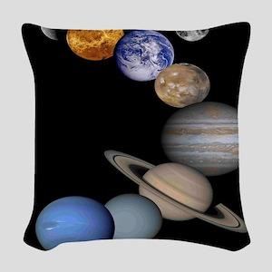 Solar System Montage Woven Throw Pillow