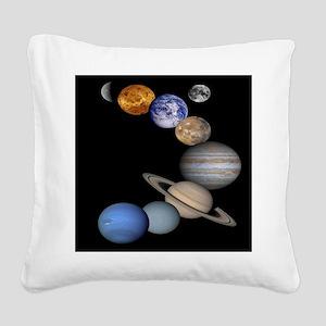 Solar System Montage Square Canvas Pillow