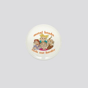 Metal Heads Rock Out Harder Mini Button
