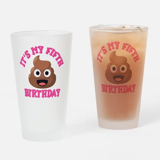 Poop Emoji Fifth Birthday Drinking Glass