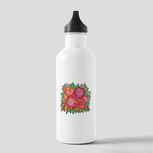 Orange Fantasy Flowers Water Bottle