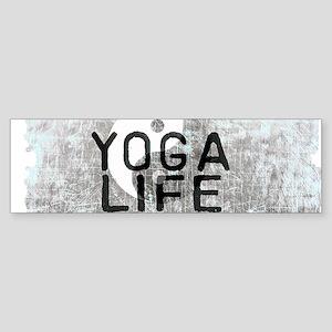 YOGA LIFE SCRATCHED EDGES GRAY Bumper Sticker