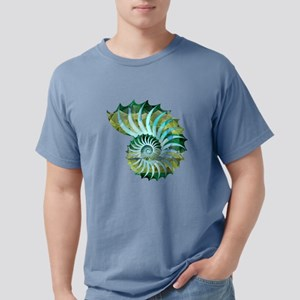 Mosaic Polygon Blue & Green Nautilus Shell T-Shirt