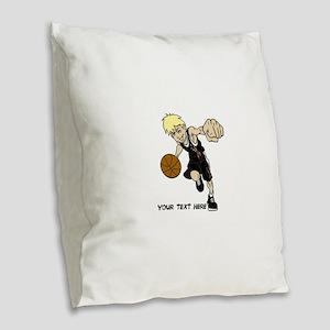 PERSONALIZED BASKET BOY AUTISM Burlap Throw Pillow