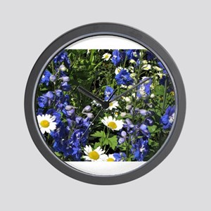 Blue Delphiniums Daisies Wall Clock