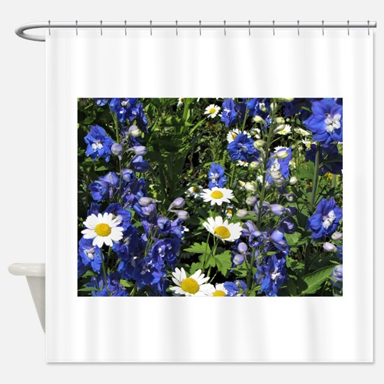 Blue Delphiniums Daisies Shower Curtain
