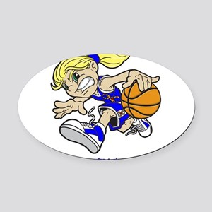 PERSONALIZED BASKET GIRL AUTISM RI Oval Car Magnet