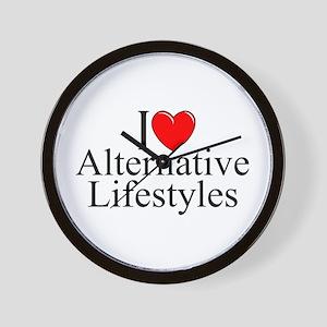 """""""I Love (Heart) Alternative Lifestyles"""" Wall Clock"""
