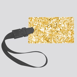 Golden Glitter Sparkly Sequins Large Luggage Tag