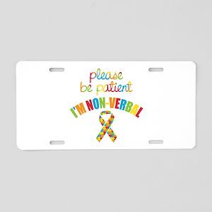 Non-Verbal Autistic Aluminum License Plate