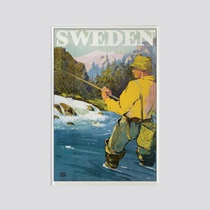 Vintage Sweden Fishing Rectangle Magnet