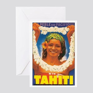 Vintage Tahiti Girl Greeting Card