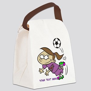 PERSONALIZED SOCCER GIRL AUTISM R Canvas Lunch Bag