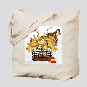 Scarecrow Fall Fowers Tote Bag