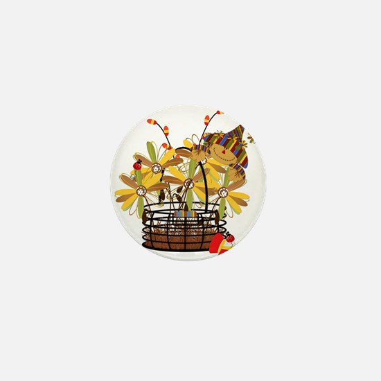 Scarecrow Fall Fowers Mini Button (100 pack)