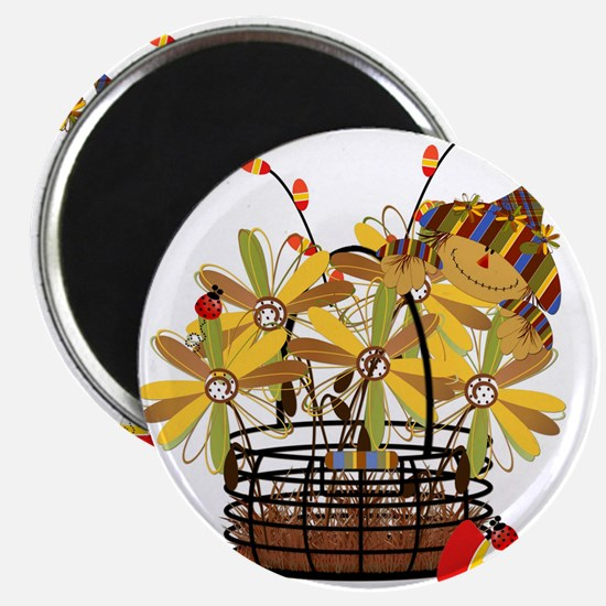 """Scarecrow Fall Fowers 2.25"""" Magnet (10 pack)"""