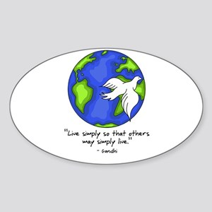 World Gandhi - Live Simply Oval Sticker