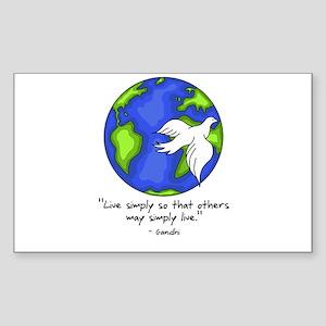 World Gandhi - Live Simply Rectangle Sticker