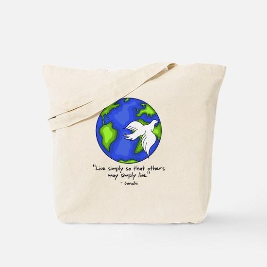 World Gandhi - Live Simply Tote Bag