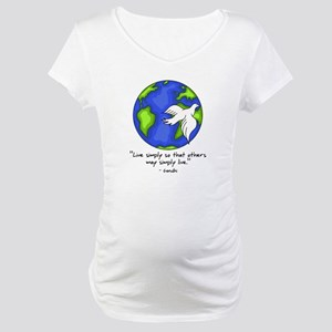 World Gandhi - Live Simply Maternity T-Shirt