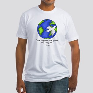World Gandhi - Live Simply Fitted T-Shirt